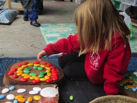 Girl playing with counters